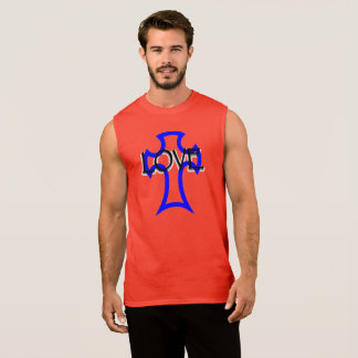 cross with love written tank top