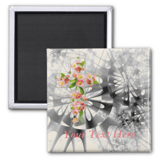 Cross With Pink Flowers Square Magnet