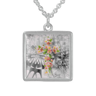 Cross With Pink Flowers Sterling Silver Necklace