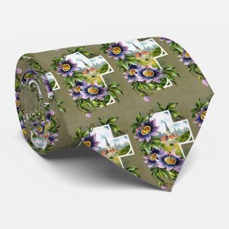 Cross With Purple Flowers Tie