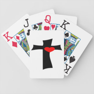 CROSS WITH RED HEART BICYCLE PLAYING CARDS