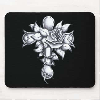 Cross with Roses Mouse Pad