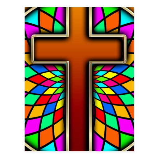 CROSS WITH STAINED GLASS POSTCARD