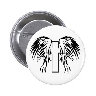 Cross with wings 6 cm round badge