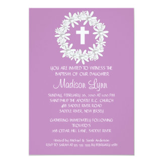 Cross Wreath Baby Girl Baptism Inviation Personalized Invitations