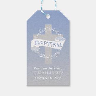 Cross Wreath | Berries Baby Boy Baptism Gift Tags