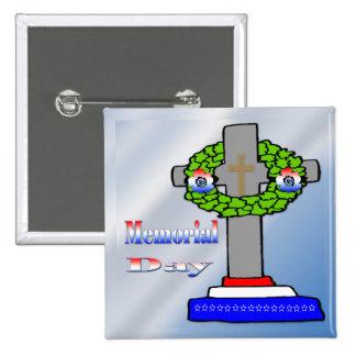Cross Wreath - Memorial Day Button
