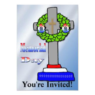 """Cross & Wreath -  Memorial Day Invitation 5"""" X 7"""" Invitation Card"""