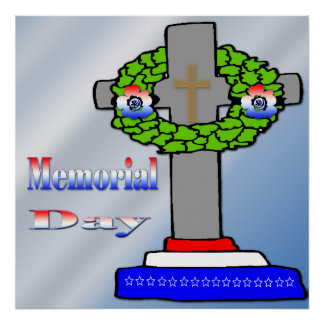 Cross & Wreath -  Memorial Day Poster
