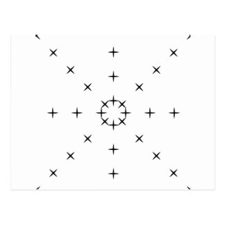 Cross, X, Hatch, Tick Tack Toe Pattern Black White Postcard