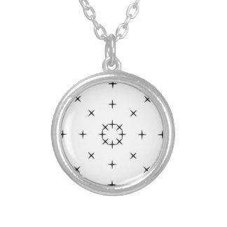 Cross, X, Hatch, Tick Tack Toe Pattern Black White Round Pendant Necklace