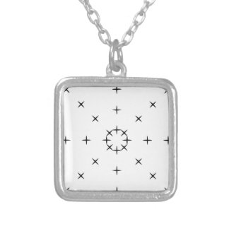 Cross, X, Hatch, Tick Tack Toe Pattern Black White Square Pendant Necklace