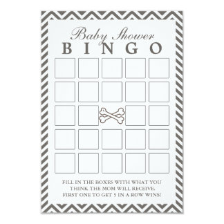 Crossbones Chevron Stripes Baby Shower Bingo Cards