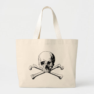 Crossbones skull large tote bag