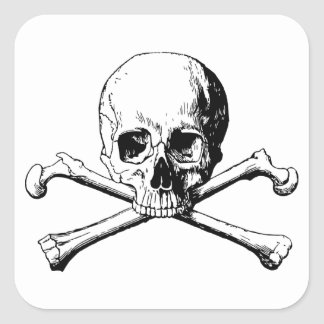 Crossbones skull square sticker