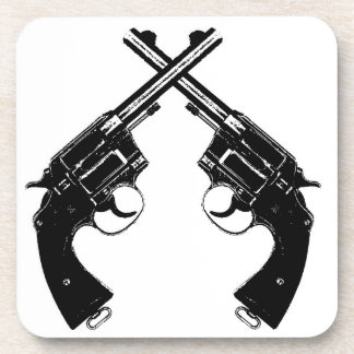 Crossed Antique Revolvers // Vintage Guns in Black Coaster