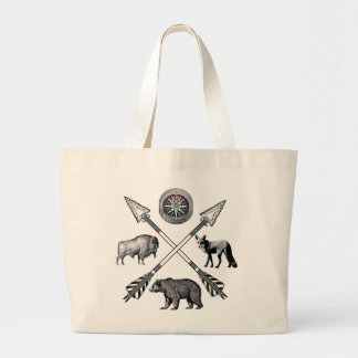 Crossed Arrows And Wildlife Wilderness Style Large Tote Bag