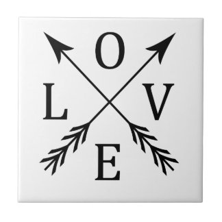 Crossed Arrows Love Design Ceramic Tile