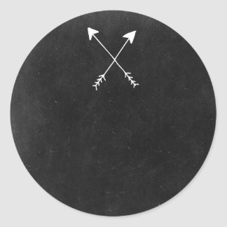 Crossed Arrows On Rustic Chalkboard Boho Boutique Classic Round Sticker