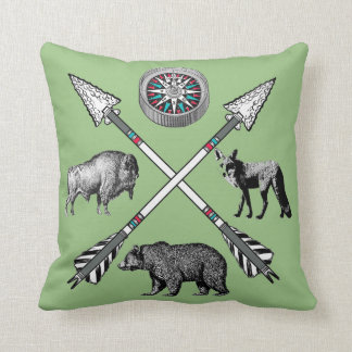 Crossed Arrows Wildlife And Compass Design Cushion