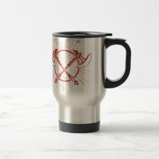 Crossed Axes Lumberjack Graphic Tee Travel Mug