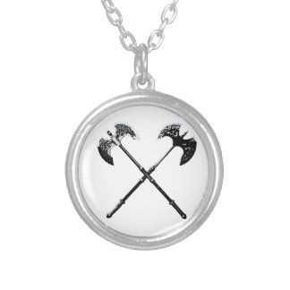 Crossed Axes Round Pendant Necklace