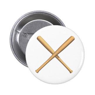 Crossed Baseball Bats Button