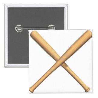 Crossed Baseball Bats Buttons