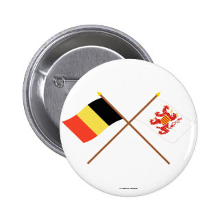 Crossed Belgium and Limbourg Flags Pinback Buttons