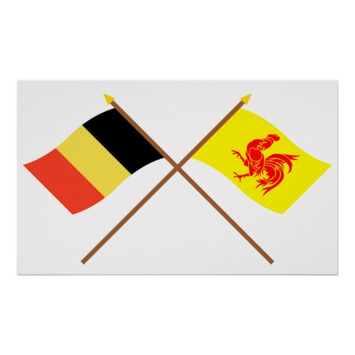 Crossed Belgium and Walloon Region Flags Poster