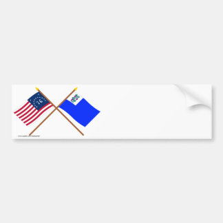 Crossed Bennington and Connecticut Privateer Flags Bumper Sticker