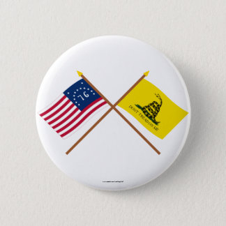 Crossed Bennington and Gadsden Flags 6 Cm Round Badge