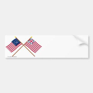 Crossed Bennington and Grand Union Flags Bumper Sticker