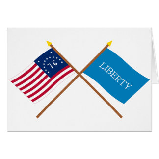 Crossed Bennington and Schenectady Liberty Flags Card