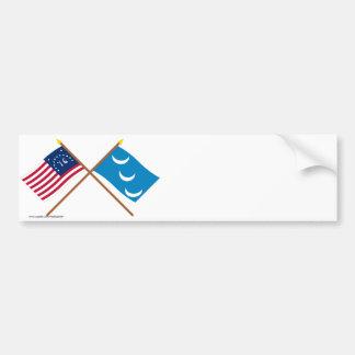 Crossed Bennington and South Carolina Militia Flag Bumper Sticker