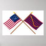 Crossed Bennington and South Carolina Navy Flags Poster