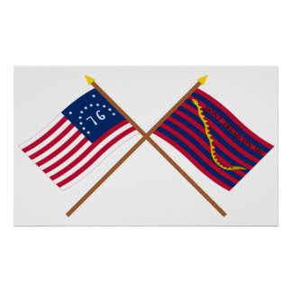 Crossed Bennington and South Carolina Navy Flags Poster