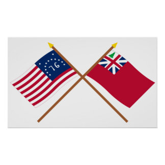 Crossed Bennington Flag and  Pine Tree Red Ensign Poster