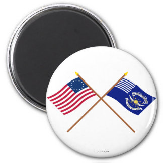 Crossed Betsy Ross and 2nd Regiment Light Dragoons 6 Cm Round Magnet