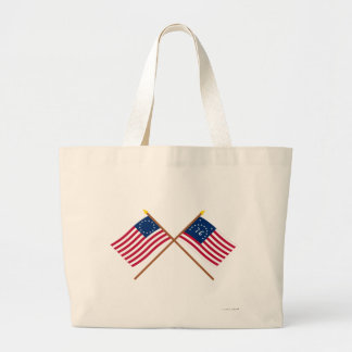Crossed Betsy Ross and Bennington Flags Canvas Bags