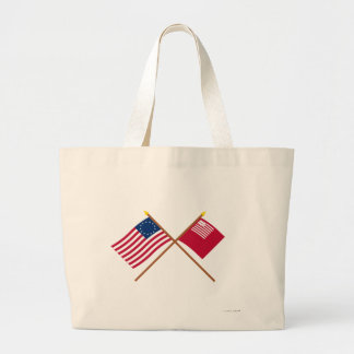 Crossed Betsy Ross and Brandywine Flags Canvas Bags