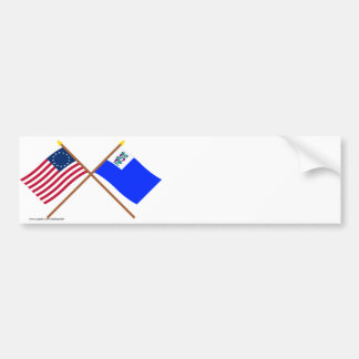 Crossed Betsy Ross and Connecticut Privateer Flags Bumper Stickers