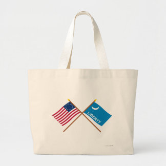 Crossed Betsy Ross and Fort Moultrie Flags Bags