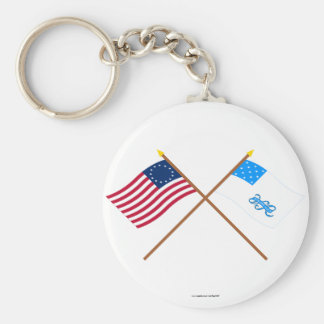 Crossed Betsy Ross and Rhode Island 1st Regiment F Key Chains