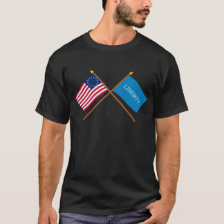 Crossed Betsy Ross and Schenectady Liberty Flags T-Shirt