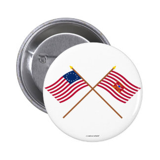 Crossed Betsy Ross and Sheldon s Horse Flags Pinback Buttons