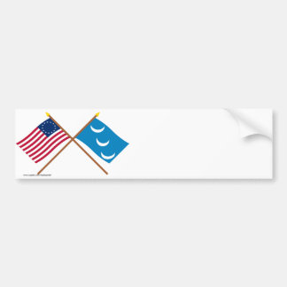 Crossed Betsy Ross and South Carolina Militia Flag Bumper Stickers