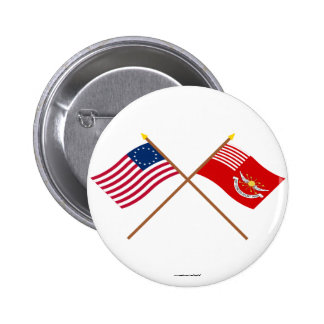 Crossed Betsy Ross and Tallmadge s Dragoons Flags Pinback Buttons