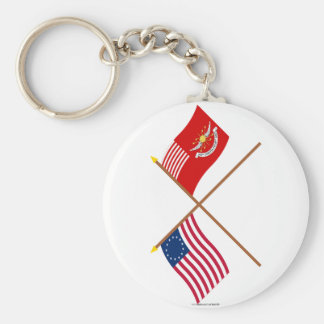 Crossed Betsy Ross and Tallmadge's Dragoons Flags Keychain