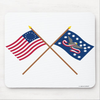 Crossed Betsy Ross and Whiskey Rebellion Flags Mousepad